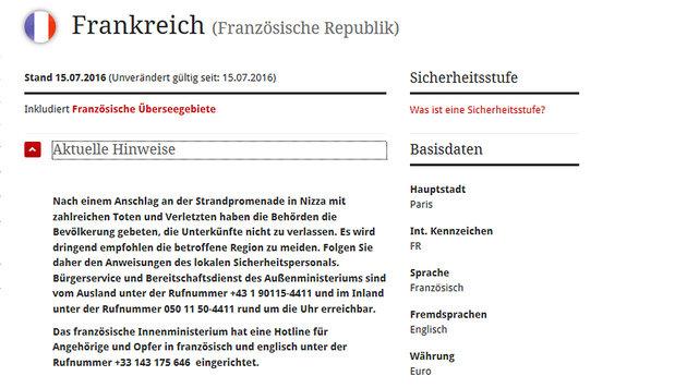 Außenamt: Keine Hinweise auf österreichische Opfer (Bild: Screenshot bmeia.gv.at)