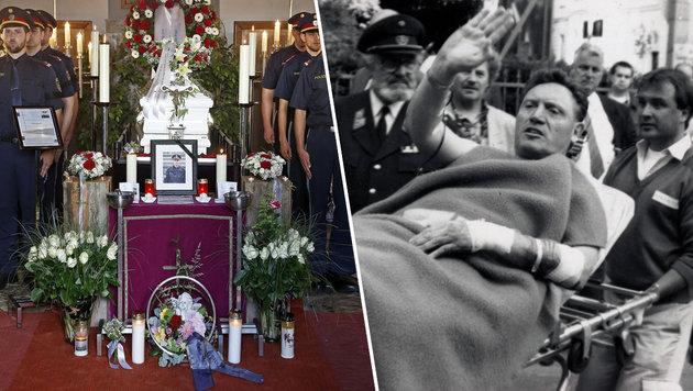 Links: Die Beerdigung von Daniel S. Rechts: Der 1993 angeschossene Kripo-Beamte F. Maringer (Bild: APA/GERT EGGENBERGER, Andi Schiel)