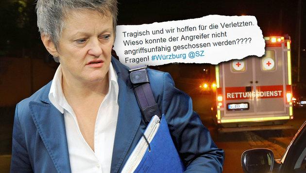 Axt-Blutbad: Grün-Politikerin kritisiert Polizei (Bild: Karl-Josef Hildenbrand/dpa via AP, dpa/lbn, twitter.com)