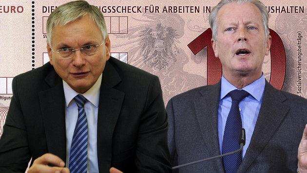 Stöger will Dienstleistungsschecks auch für Asylwerber, Mitterlehner warnt vor falschem Signal. (Bild: APA/REPRO/APA, APA/HELMUT FOHRINGER, APA/HERBERT PFARRHOFER)