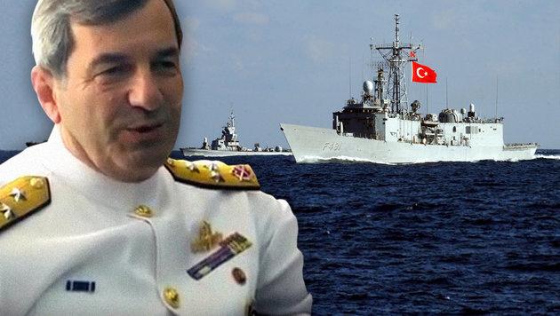 14 Kriegsschiffe und Marinekommandant verschwunden (Bild: TAL COHEN/AFP/picturedesk.com, YouTube.com/Kocaeli Valiligi)