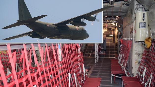 Sicherer Rückflug in der Militärmaschine (Bild: Bundesheer/Gunter Pusch)