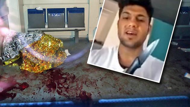 Der 17-Jährige stellte ein Drohvideo ins Netz und richtete im Zug mit Axt und Messer ein Blutbad an. (Bild: dpa/Karl-Josef Hildenbrand, Twitter.com)