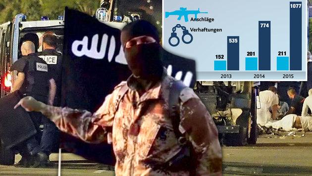 """Angst vor Terror ist so groß wie noch nie! (Bild: AP, twitter.com, """"Krone""""-Grafik)"""