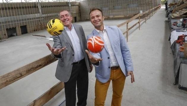 Trainieren schon: Bürgermeister Schaden und Klubchef Auinger (Bild: Markus Tschepp)