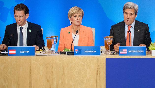 Außenminister Kurz mit seiner australischen Amtskollegin Julie Bishop und US-Chefdiplomat John Kerry (Bild: BMEIA)