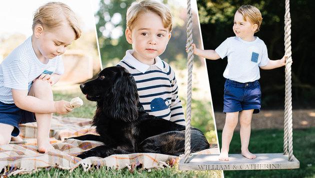 """Prinz George teilt sein Eis mit Familienhund Lupo u. steht auf einer """"William & Catherine""""-Schaukel. (Bild: Kensington Palace/Matt Porteous)"""