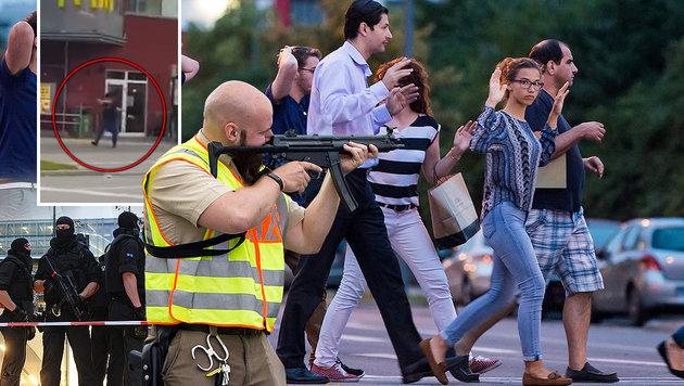 Zehn Tote: Das war der blutige Amoklauf in M�nchen (Bild: APA/AFP/STRINGER, APA/dpa/Andreas Gebert, YouTube.com)