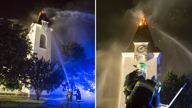 In den Turm der Pfarrkirche Droß in Niederösterreich schlug der Blitz ein. (Bild: APA/BFK KREMS/MANFRED WIMMER)