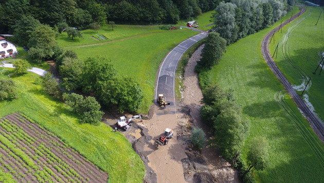 Murenabgang nach Unwettern zwischen Mixnitz und Breitenau am Hochlantsch (Steiermark) (Bild: APA/ROLAND THENY/FILMTEAM-AUSTRIA)