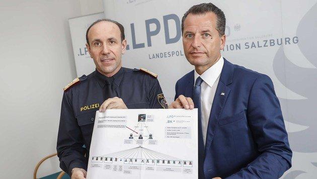 Der Salzburger Landespolizeidirektor Franz Ruf mit Oberst Gerald Tatzgern (Bild: MARKUS TSCHEPP)