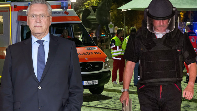 Der geschockte bayrische Innenminister Joachim Herrmann (li.); ein SEK-Mann am Tatort in Ansbach (Bild: EPA/DANIEL KARMANN, APA/AFP/CHRISTOF STACHE)