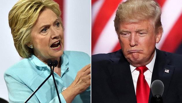 Donald Trumps Umfragewerte steigen, nun liegt der Republikaner vor Hillary Clinton. (Bild: APA/AFP/GASTON DE CARDENAS, APA/AFP/GETTY IMAGES/ALEX WONG)
