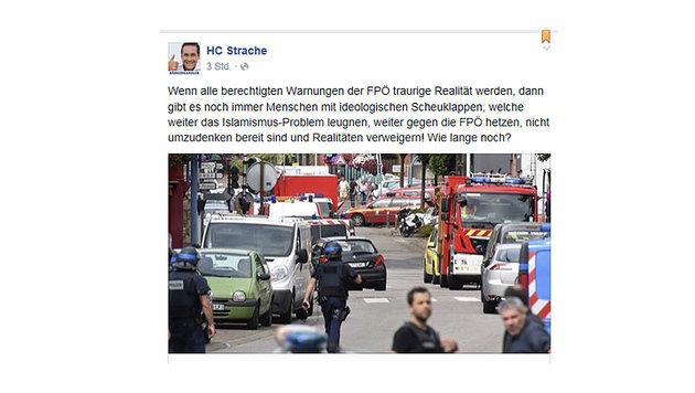 """""""Feind kennt keine Moral, keine Grenze, kein Tabu"""" (Bild: facebook.com/HC Strache)"""