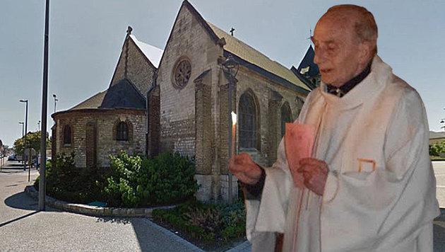 Saint-Etienne-du-Rouvray: Beim Anschlag in der Kirche wurde dem Priester die Kehle durchgeschnitten. (Bild: twitter.com, maps.google.com)