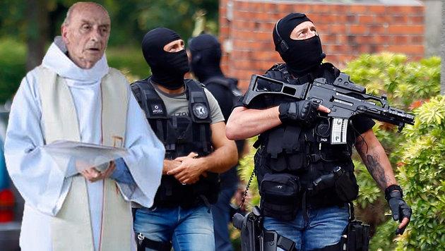 Priester Jacques Hamel, der in der Normandie brutal ermordet wurde; Spezialeinheiten der Polizei (Bild: APA/AFP/http://ser-ta-paroisse.over-blog/HO, AP)