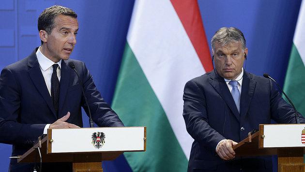 """Kern und Orban wollen """"ein neues Kapitel"""" aufschlagen - aber viele Streitpunkte sind noch offen. (Bild: APA/BKA/ANDY WENZEL)"""