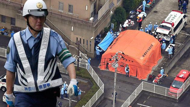 Blutiger Amoklauf in Japan: Mindestens 19 Tote (Bild: EPA/YOMIURI SHIMBUN, EPA/KIMIMASA MAYAMA)