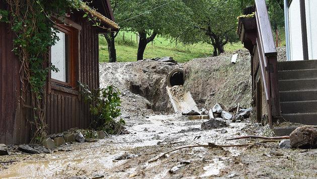 Unwetterschäden im steirischen Stanz (Bild: APA/BFVMZ PUSTERHOFER)
