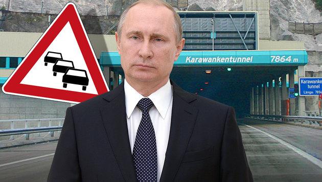 Tunnelsperre für den russischen Präsidenten Wladimir Putin (Bild: APA/AFP/Sputnik/ALEKSEY NIKOLSKYI, Wikipedia.com/Ed88)
