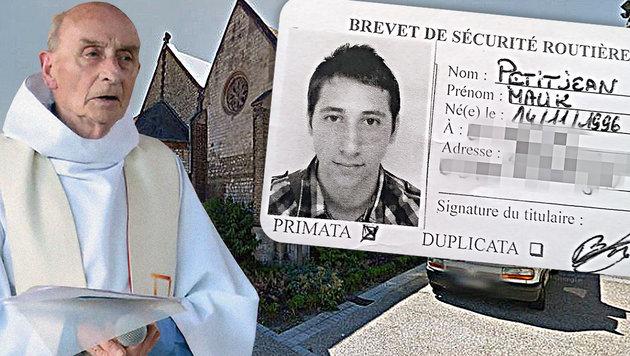 Zwei Islamisten töten den 84-jährigen Priester Jacques Hamel, rechts der Ausweis eines Täters. (Bild: AFP/PAROISSE SAINT-ETIENNE-DU-ROUVRAY, Google-Maps, APA/AFP)