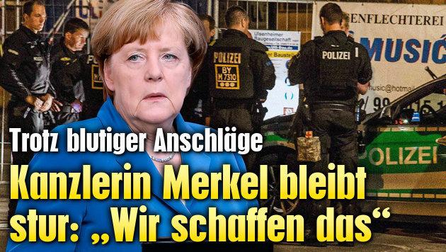"Kanzlerin Merkel bleibt stur: ""Wir schaffen das"" (Bild: AP/Michael Sohn, AFP/dpa/Friebe)"
