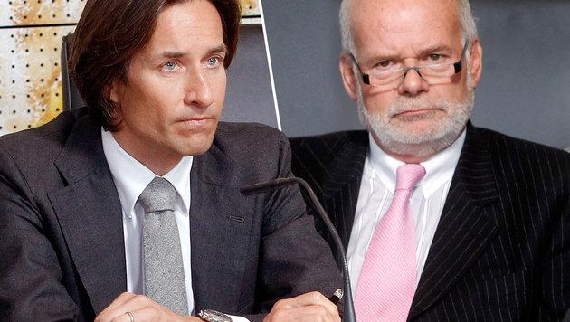 Grasser und sein Anwalt Manfred Ainedter (Bild: APA/Gert Eggenberger)