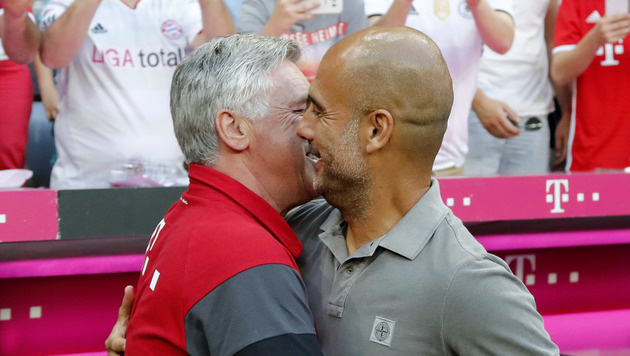 Carlo Ancelotti hat im Gegensatz zu Franck Ribéry mit Pep Guardiola kein Problem. (Bild: ASSOCIATED PRESS)