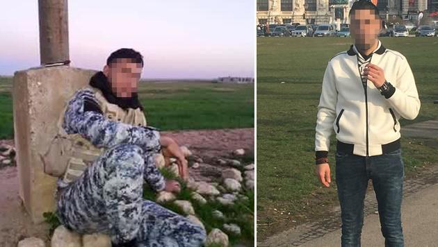 """Ein Iraker im Kriegsgebiet (links), derselbe Mann am Wiener Heldenplatz (rechts) (Bild: """"Krone"""")"""
