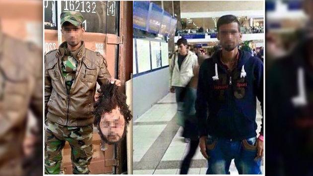 Ein Iraker im Kriegsgebiet mit abgetrenntem Kopf (links), als Zuwanderer am Westbahnhof (rechts) (Bild: LPD)
