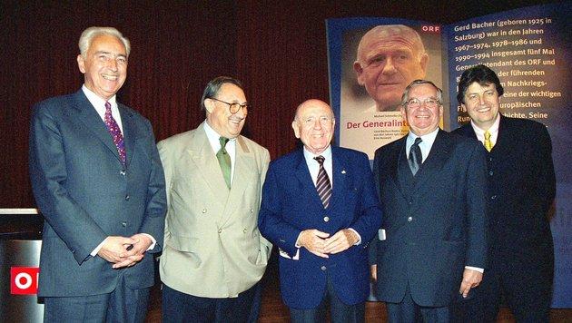 Fünf Ex-ORF-Chefs auf einen Fleck: Oberhammer, Podgorski, Bacher, Weis und Zeiler im Jahr 2000 (Bild: ORF/Ali Schafler)
