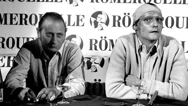 Bei seiner ersten Pressekonferenz nach dem Horror-Crash stellte sich Lauda der Weltöffentlichkeit. (Bild: Kronen Zeitung)