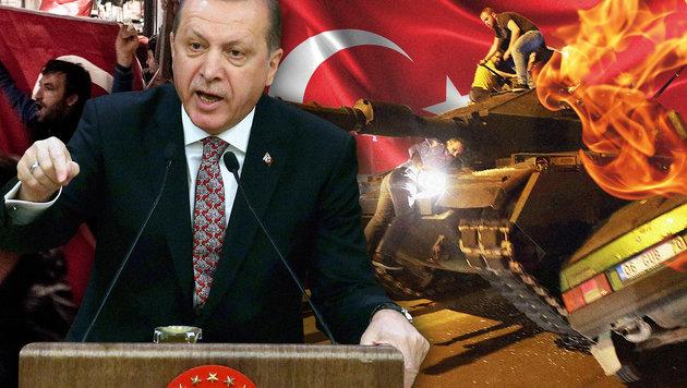 """Erdogan �ber �sterreich: """"Keine Meinungsfreiheit"""" (Bild: AFP/ADEM ALTAN, APA/CHRISTOPHER GLANZL, thinkstockphotos.de)"""