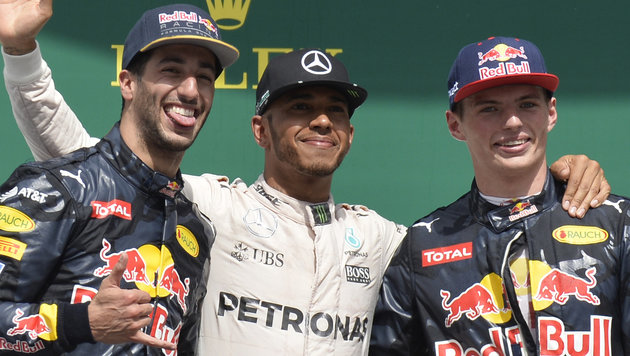 Daniel Ricciardo, Lewis Hamilton und Max Verstappen (Bild: AFP)