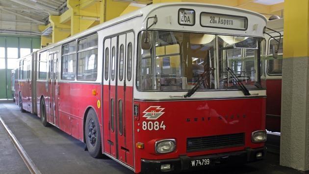 Der Unglücksbus in der Remise (Bild: APA)