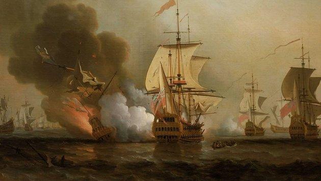 """Ein Ölgemälde von Samuel Scott zeigt die Explosion der """"San José"""". (Bild: Wikimedia (gemeinfrei))"""