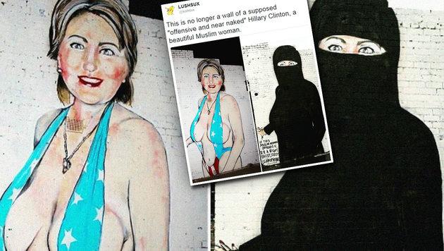 """Fast nackte"" Clinton mit schwarzem Niqab �bermalt (Bild: twitter.com/lushsux)"