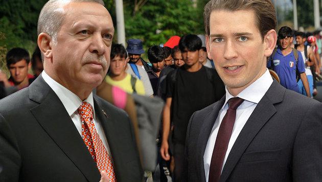 "Kurz: ""D�rfen uns nicht erpressen lassen"" (Bild: AFP/OLIVER BUNIC, AP, APA/AUSSENMINISTERIUM/ASHRAF MAHMOUD)"