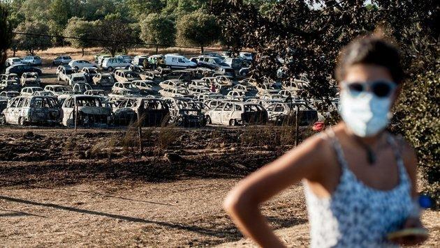 400 Autos bei Gro�brand in Portugal zerst�rt (Bild: EPA)