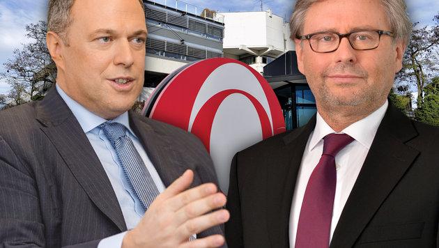 Das Duell: Steht Wrabetz (re.) vor seiner dritten Amtsperiode - oder wird Finanzchef Grasl gewählt? (Bild: ORF/Thomas Ramstorfer, APA/Herbert Neubauer)