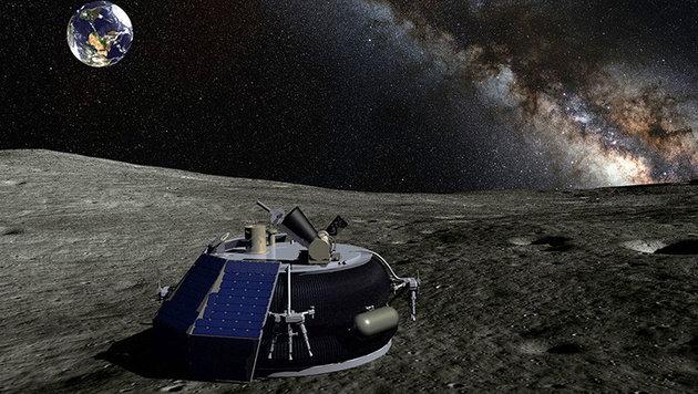 Künstlerische Darstellung: MX-1 nach der Landung auf dem Mond (Bild: Moon Express)