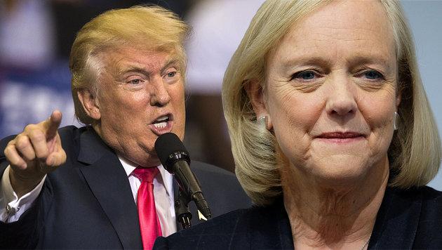 HP-Chefin Whitman bezieht Position gegen Trump (Bild: APA/AFP, krone.at-Grafik)