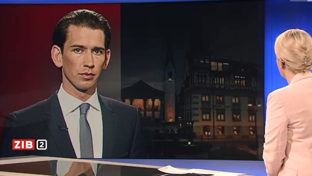 """Kurz kritisiert die """"verfehlte Flüchtlingspolitik in Europa"""". (Bild: ORF)"""