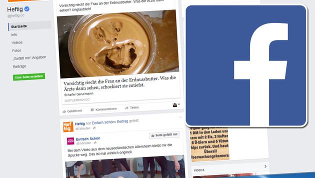 """Facebook will """"Clickbait"""" aus Newsfeeds filtern (Bild: Facebook, krone.at-Grafik)"""