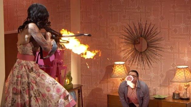 """Dieser Stunt war wahrhaftig ein Spiel mit dem Feuer! (Bild: YouTube.com, America""""s Got Talent)"""