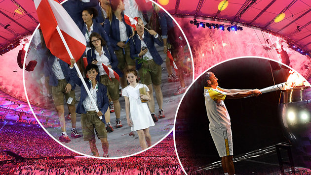Supershow bei Eröffnung der Spiele in Rio! (Bild: APA/AFP/EMMANUEL DUNAND, APA/AFP/KIRILL KUDRYAVTSEV, AP)