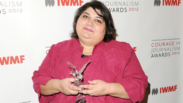 Khadija Ismayilova 2012 bei einer Preisverleihung für Mut im Journalismus in den USA (Bild: APA/AFP/GETTY IMAGES/JASON MERRITT)