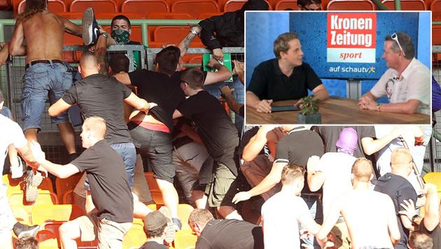"""""""Strafverfahren f�r Rapid- und Austria-Hooligans!"""" (Bild: GEPA, krone.tv)"""