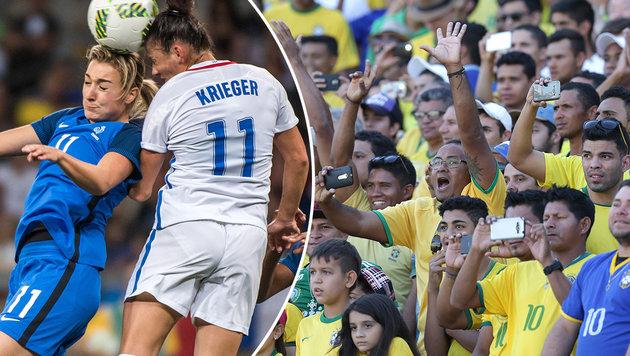 Üble Beleidigungen in Rio: Fußballerinnen toben! (Bild: APA/AFP/GUSTAVO ANDRADE, AP)