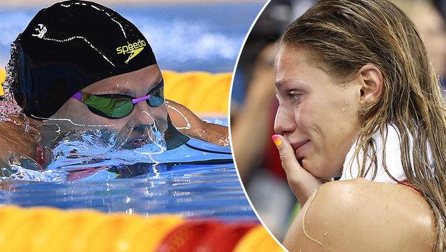 Alle gegen weinende Dopingsünderin Jefimowa (Bild: APA/AFP/ODD ANDERSEN, APA/AFP/MARTIN BUREAU)